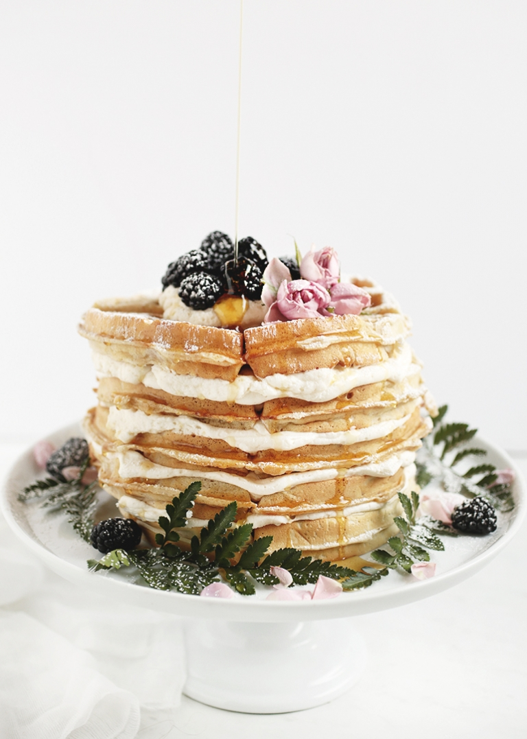Waffle Cake with Whipped Maple Frosting @themerrythought