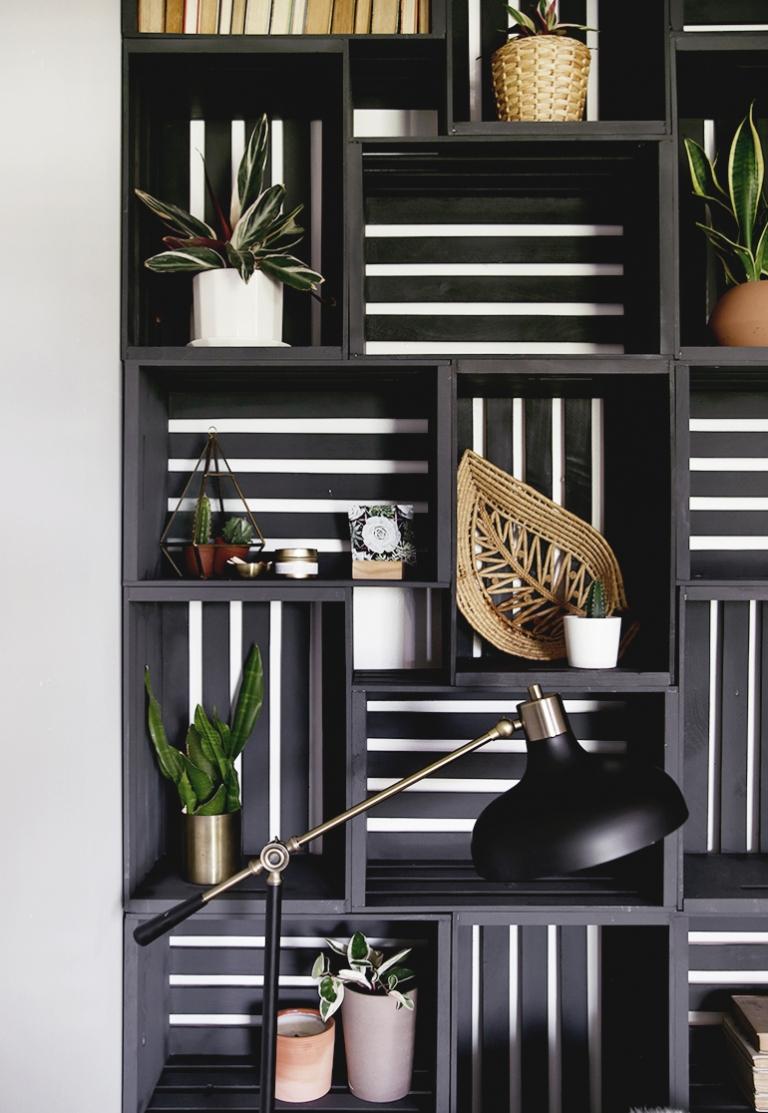 black wood crate shelf wall