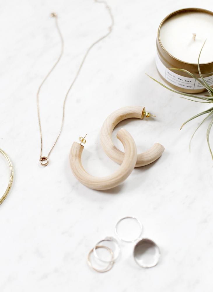 DIY Wooden Hoop Earrings @themerrythought