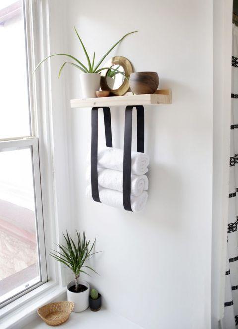 DIY Wood & Leather Towel Shelf