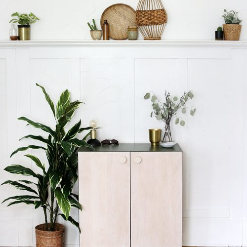 green and wood storage cabinet styled with plants and decor