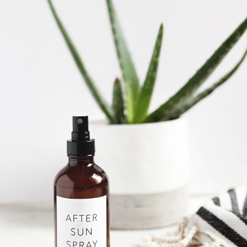 bottle of after sun spray with aloe plant
