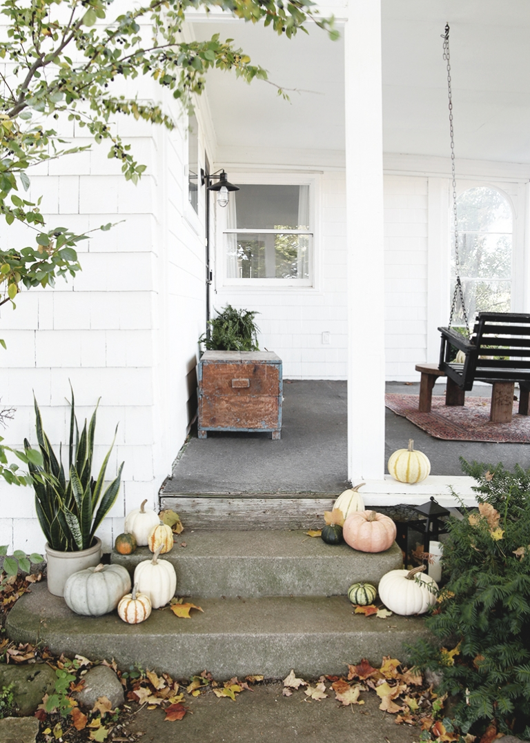 porch steps with pumpkins and plants