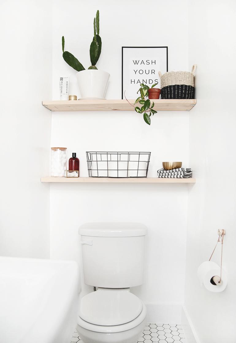 stunning bathroom shelves over toilet storage | DIY Bathroom Shelves - The Merrythought