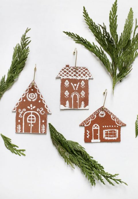 DIY Leather Gingerbread House Ornaments