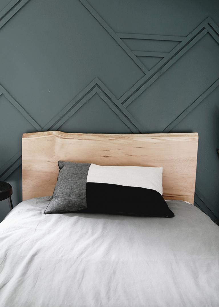 wood headboard blue wall