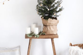 Small Christmas Tree + Simple DIY Wooden Ornaments