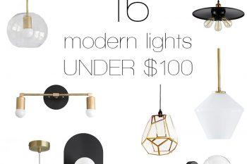 16 Modern Lights Under $100 @themerrythought