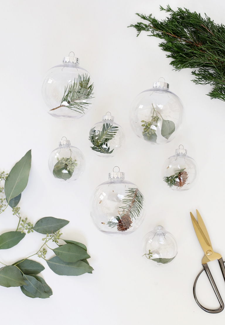 diy fresh greenery ornaments themerrythought - Fresh Christmas Greenery