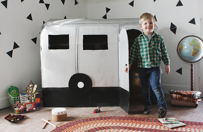 DIY Cardboard Camper Playhouse @themerrythought