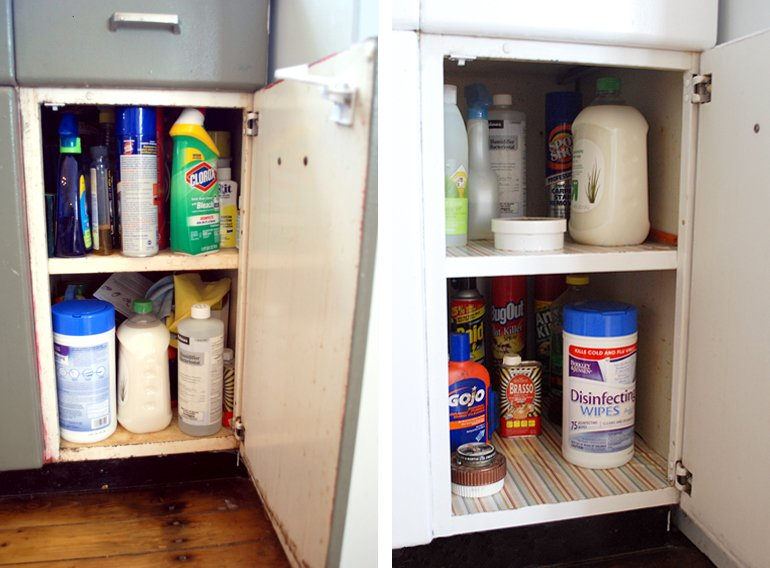 Kitchen cabinet organization the merrythought for Best cleaning products for kitchen cabinets