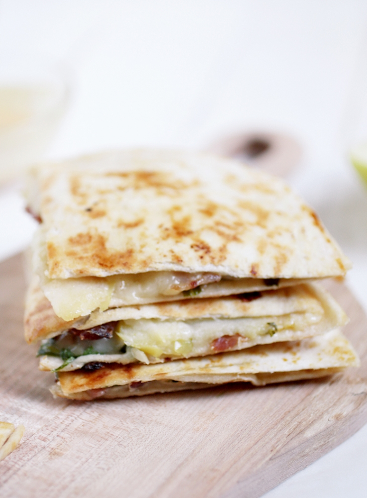 Brie, Apple, and Bacon Quesadillas @themerrythought
