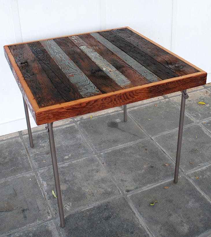 Card Table Makeover with Reclaimed Wood  @themerrythought