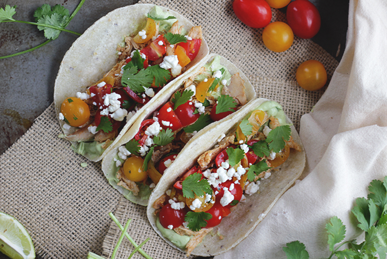 Chicken & Cherry Tomato Tacos with Avocado Crema @themerrythought