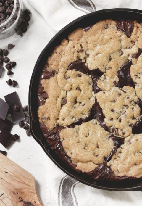 chocolate chip cookie and brownies in skillet