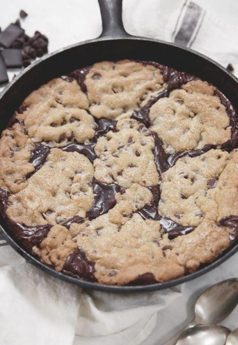chocolate chip cookie and brownie skillet cookie