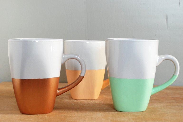 DIY Paint Dipped Mugs -- The Merrythought