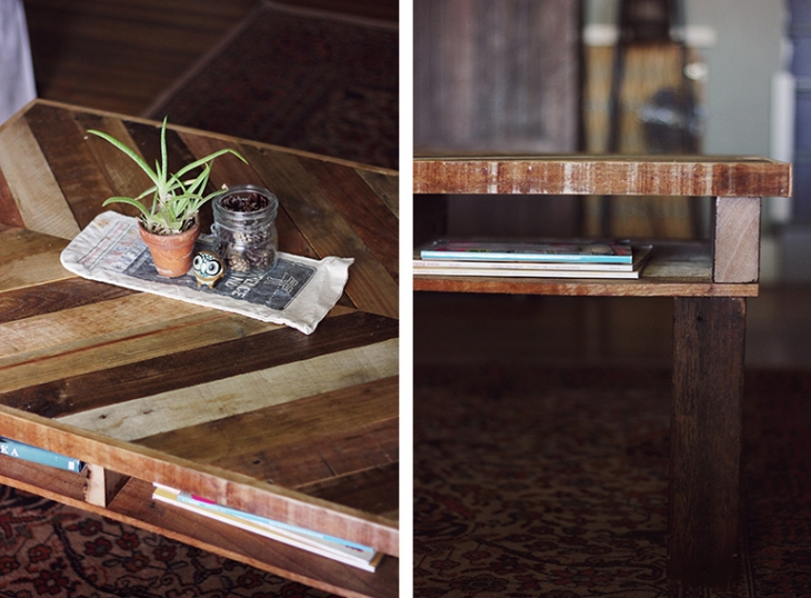 Diy pallet coffee table the merrythought for Diy wood pallet coffee table
