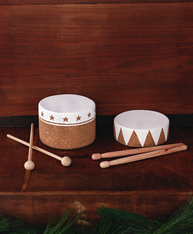 DIY Cork Drum + Wooden Drumsticks - The Merrythought