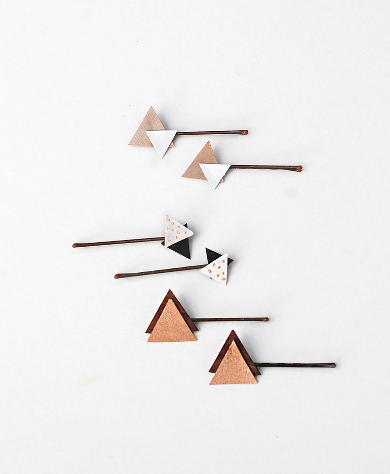 DIY Wooden Triangle Bobby Pins - The Merrythought