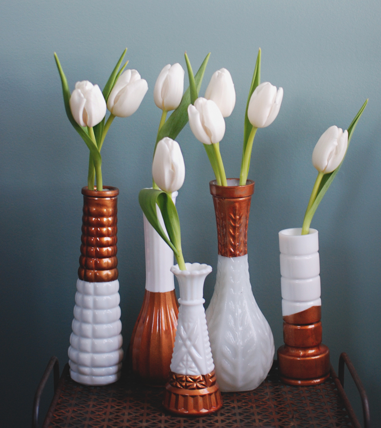Copper Dipped Milk Glass Vases The Merrythought