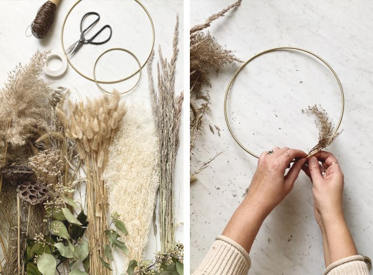 dried grass stems and brass brass wire hoops