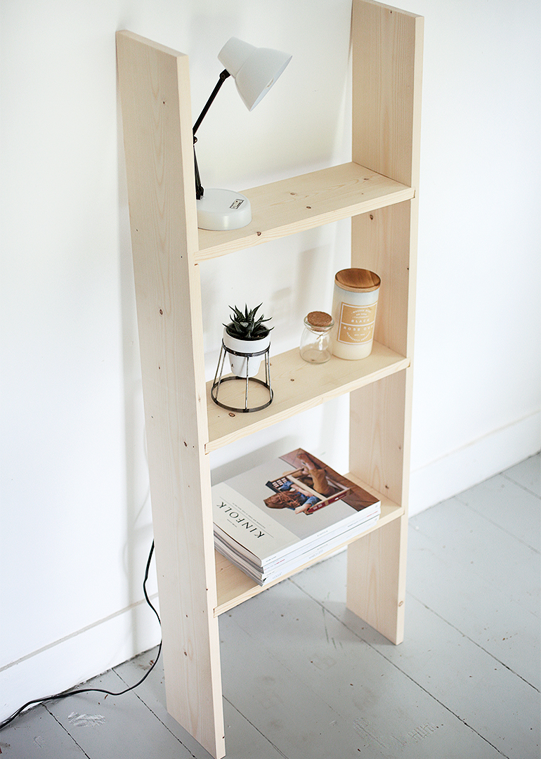 diy ladder shelf - the merrythought Ladder Nightstand