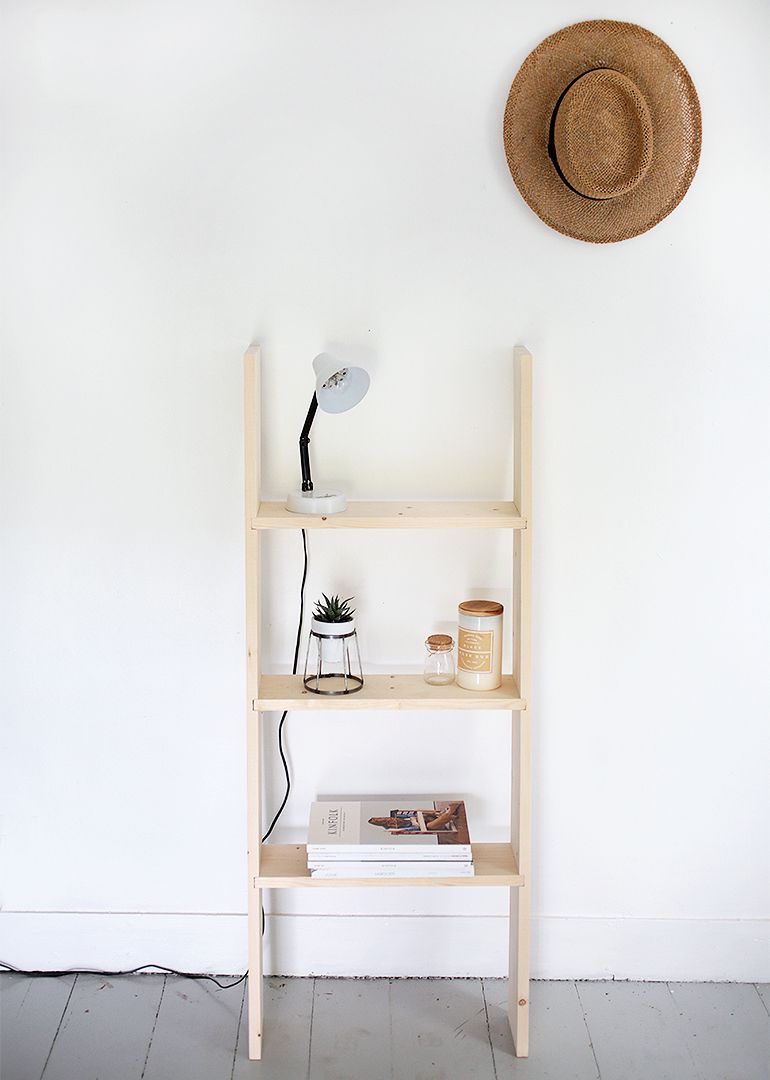 diy ladder shelf the merrythought. Black Bedroom Furniture Sets. Home Design Ideas
