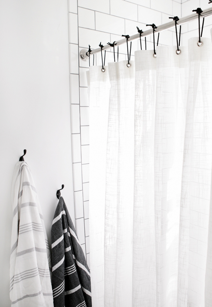 DIY Leather Shower Curtain Rings @themerrythought