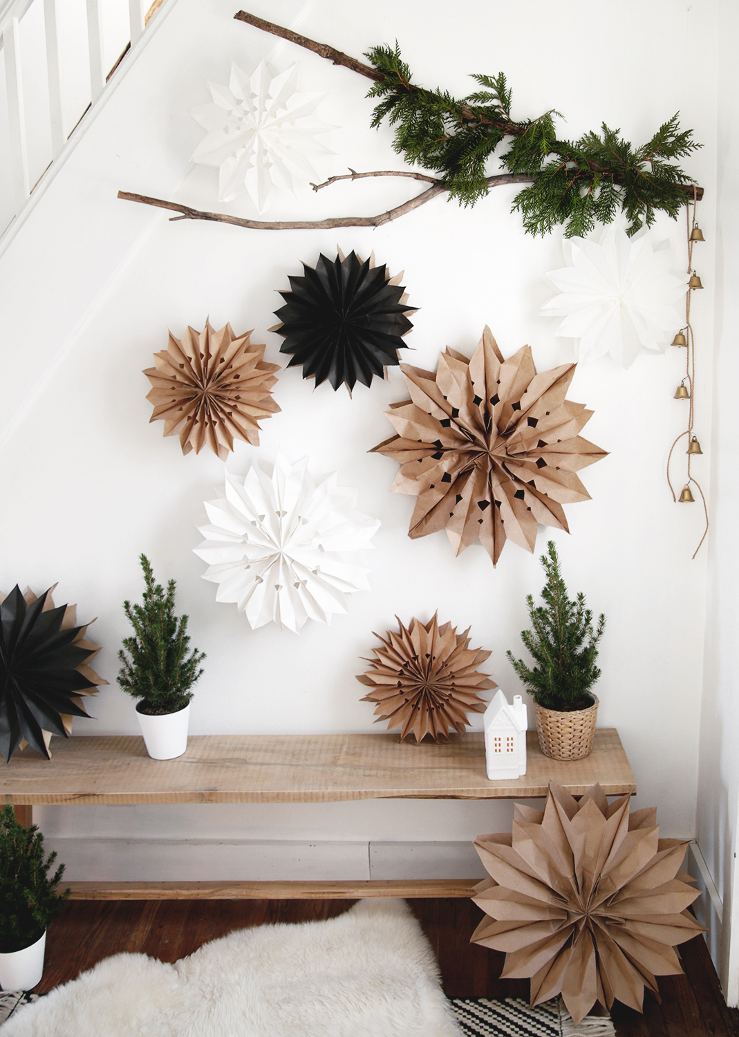 DIY Paper Bag Stars | 50 Awesome DIY Yule Decorations and Craft Ideas You Can Make for the Winter Solstice