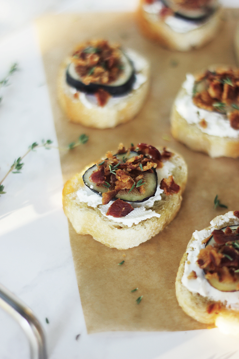 Fig, Bacon, Goat Cheese & Thyme Crostini | The Merrythought