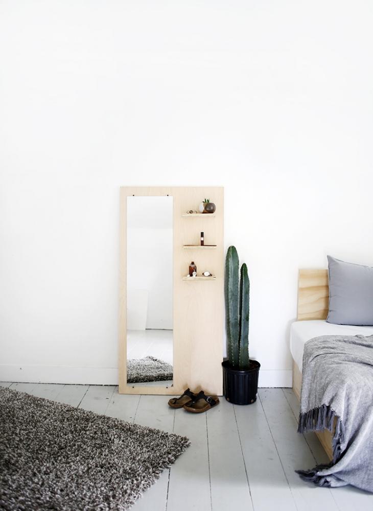 Mirroir Plancher Contreplaqué bricolage avec des étagèresthemerrythought