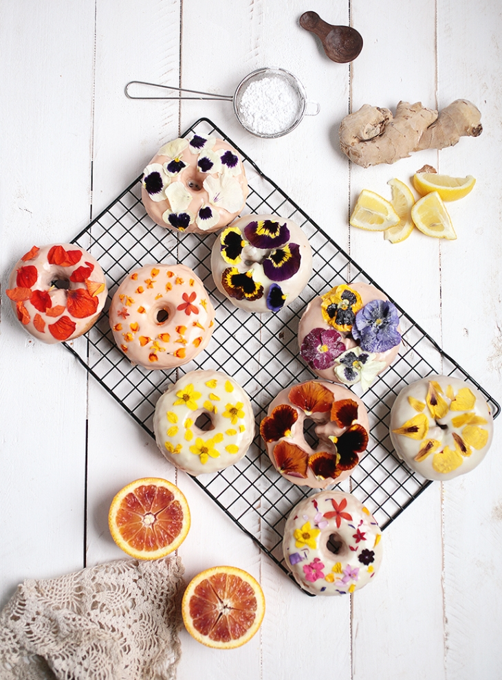 Floral Donuts with Blood Orange and Lemon Ginger Glaze @themerrythought