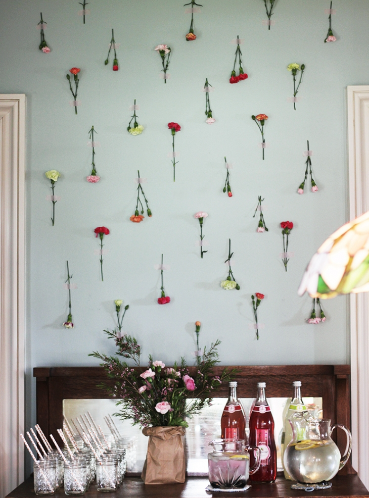 Floral Baby Shower - Fresh Flower Wall @themerrythought