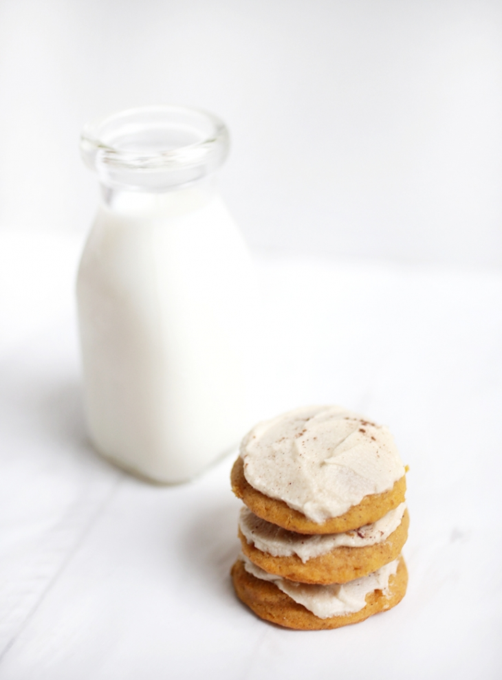 Soft Pumpkin Cookies with Brown Sugar Frosting @themerrythought