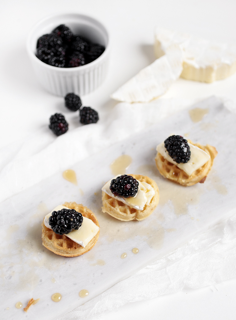 Mini Waffle Bites @themerrythought | Blackberries & Brie Waffles