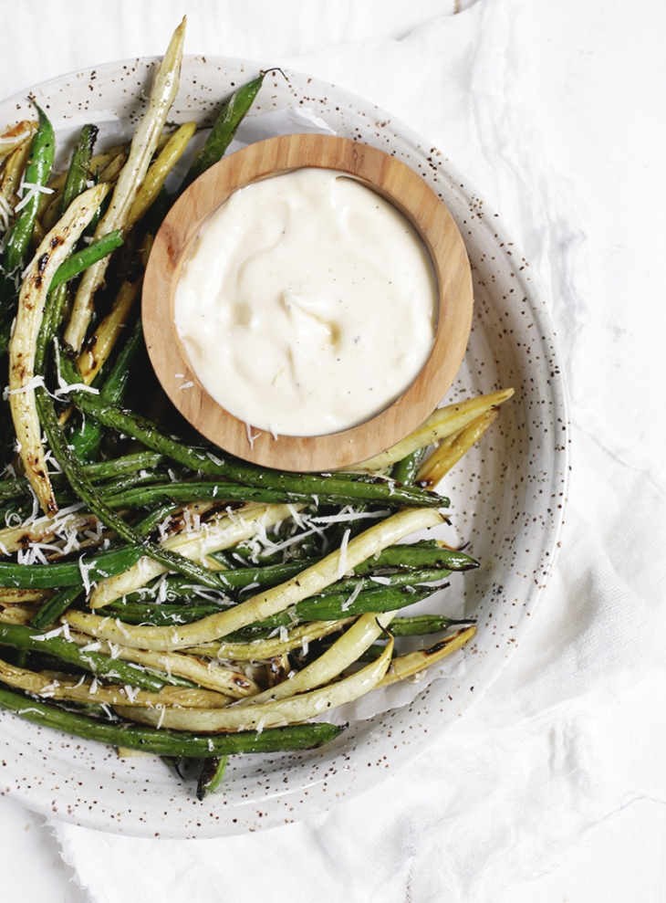 Grilled Parmesan Beans with Creamy Garlic Dip @themerrythought