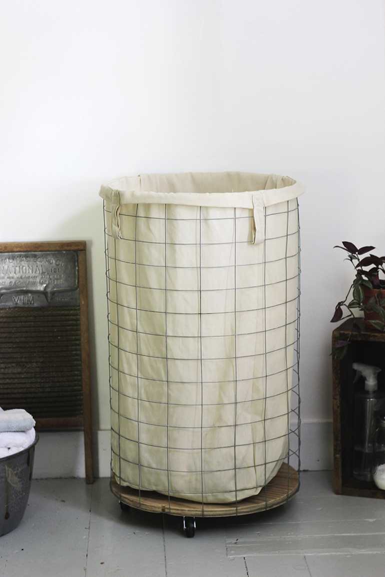 Diy wire laundry hamper the merrythought - Way laundry hamper ...