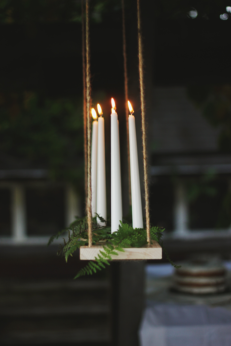 diy hanging candle chandelier the merrythought ForHanging Candles Diy