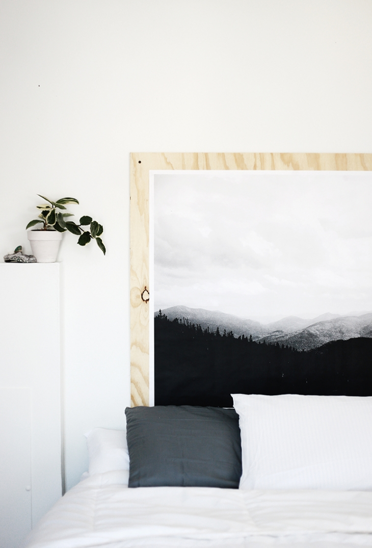 DIY Plywood Print Headboard @themerrythought