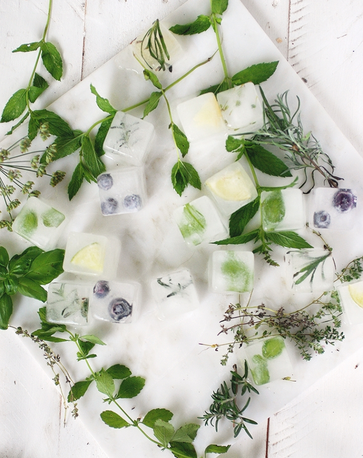Herb and Fruit Infused Ice Cubes @themerrythought