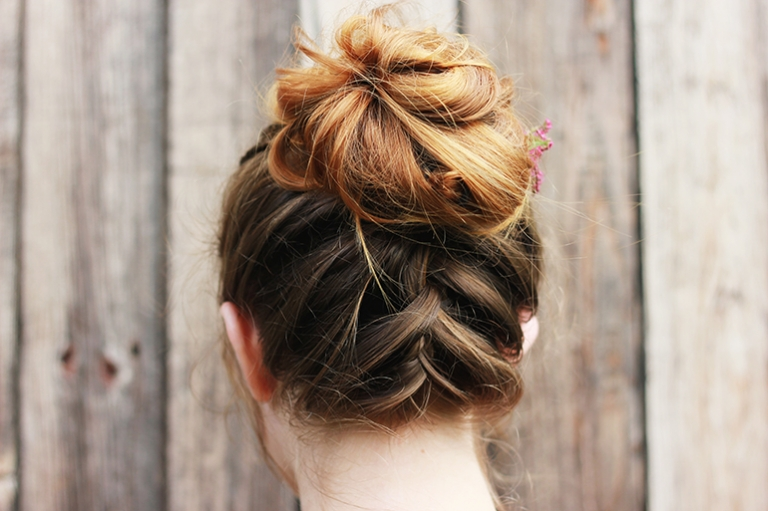 Messy Upside Down French Braid Bun The Merrythought