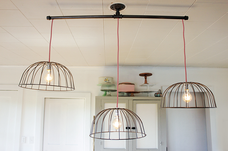 Diy wire basket lights the merrythought for Diy kitchen light fixtures