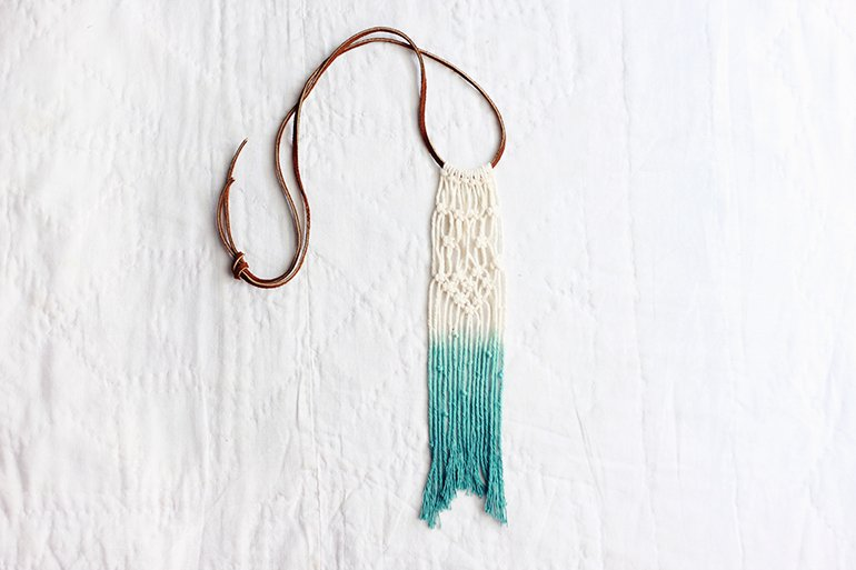 DIY Ombre Dyed Macrame Necklace | The Merrythought