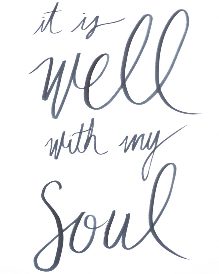 image relating to It is Well With My Soul Printable titled Brush Lettering + Totally free Printables - The Merrythought