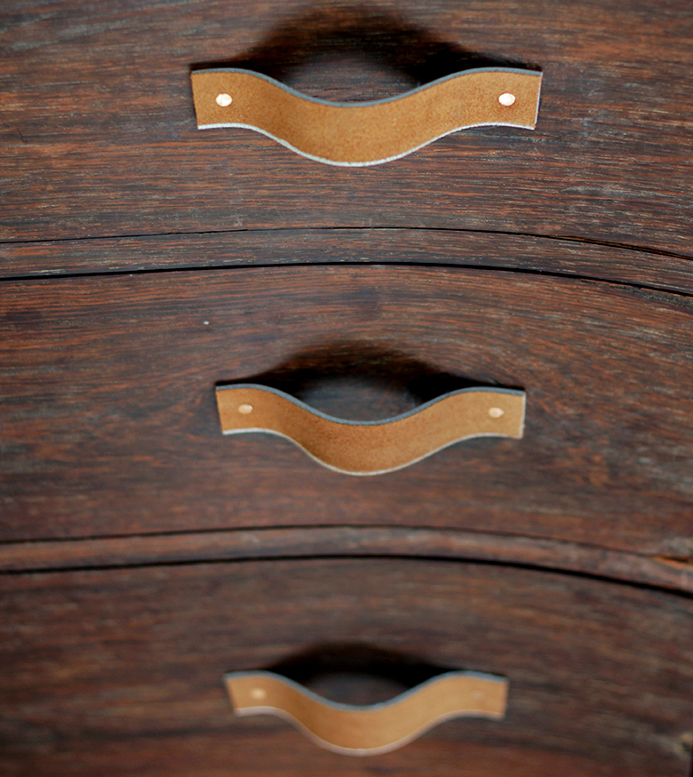 DIY Leather Drawer Pulls @themerrythought