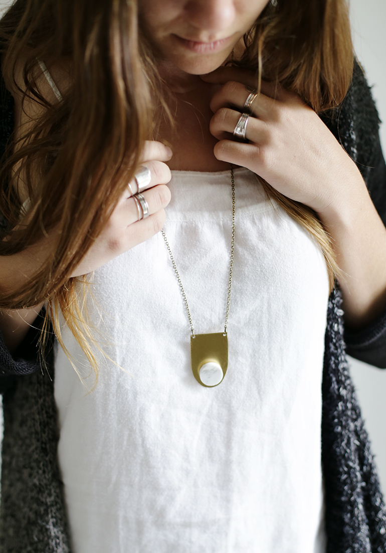 DIY Marble Penny Tile Pendant for a Minimalist Chic Necklace