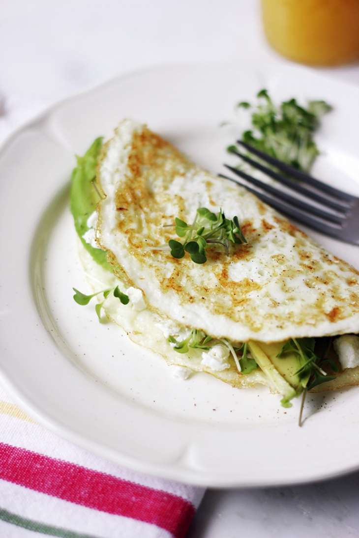 Egg White Omelette with Avocado, Goat Cheese, and Microgreens @themerrythought