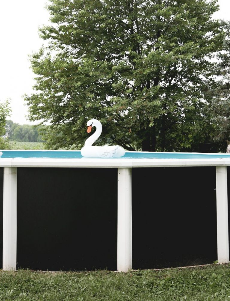 above ground pool with black walls and swan float in it
