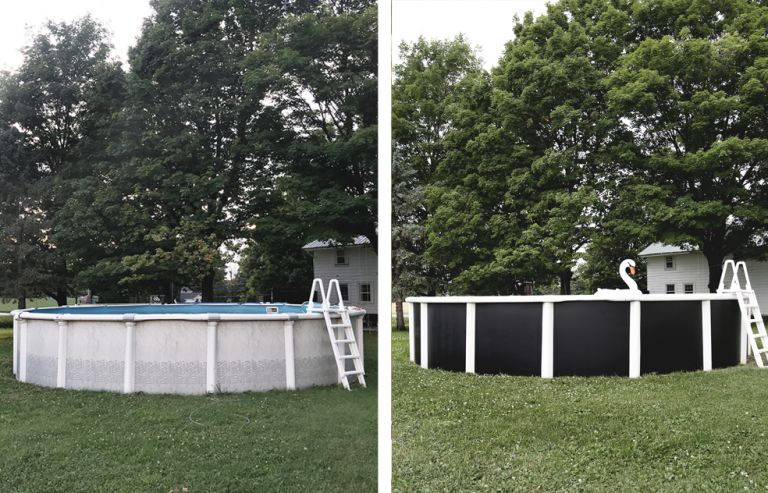 before and after of a painted above ground pool